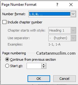 Mengubah Nomor Halaman Menjadi Angka Romawi